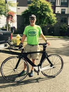 Triple Threat athlete Steve Collins was the 2015 winner of the Cervelo P3 bicycle donated by Speedy Reedy.